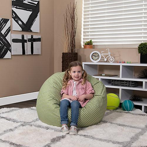 Petit fauteuil poire vert à pois pour enfants