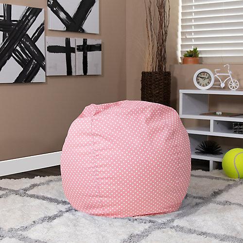 Petit fauteuil poire rose clair à pois pour enfants