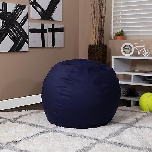 Petit fauteuil poire bleu marine plein pour enfants
