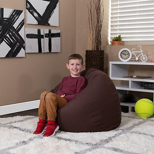 Petit fauteuil poire brun plein pour enfants