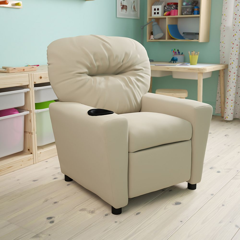 Flash Furniture Beige Vinyl Kids Recliner