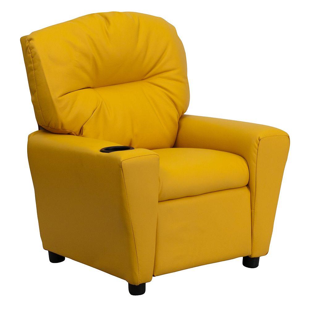 Flash Furniture Fauteuil inclinable contemporain pour enfants en vinyle jaune avec porte-gobelet