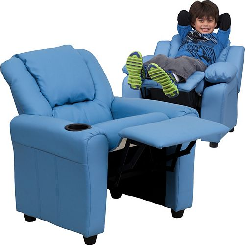 Flash Furniture Light Blue Vinyl Kids Recliner