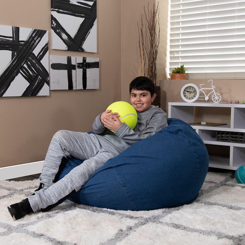 Flash Furniture Fauteuil poire denim surdimensionné pour enfants