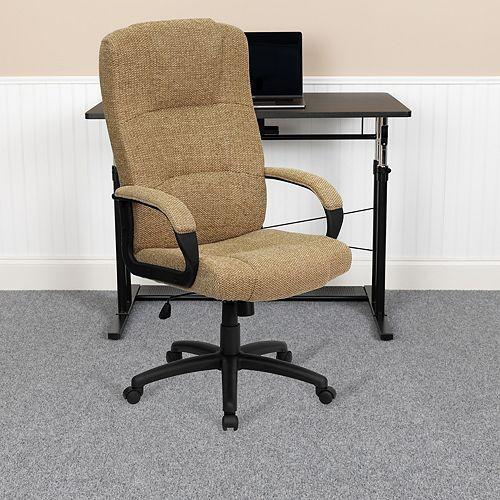 Beige High Back Fabric Chair