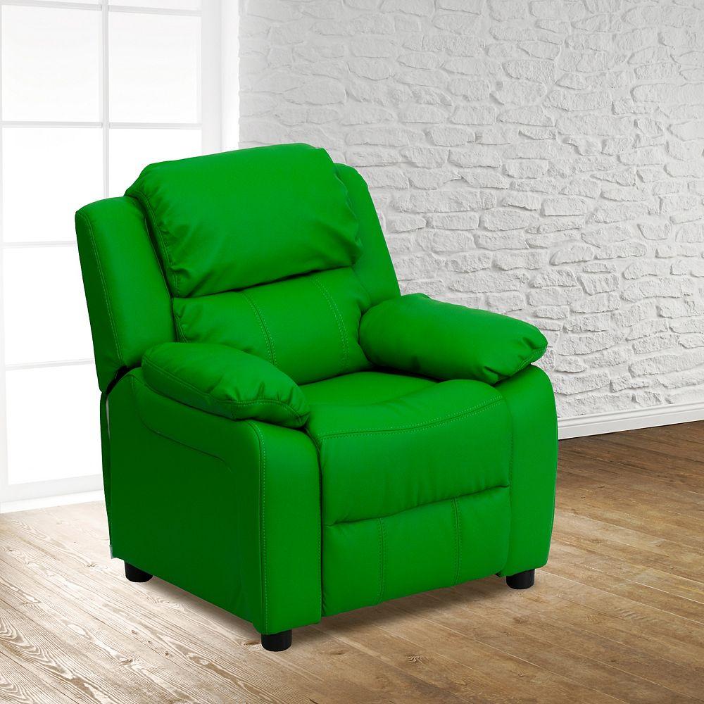 Flash Furniture Green Vinyl Kids Recliner
