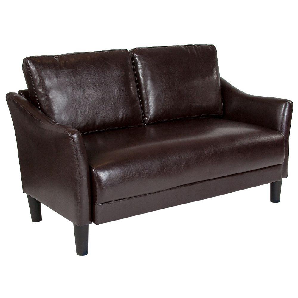 Flash Furniture Causeuse Asti rembourrée en cuir brun