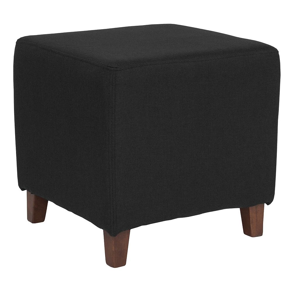 Flash Furniture Black Fabric Ottoman Pouf