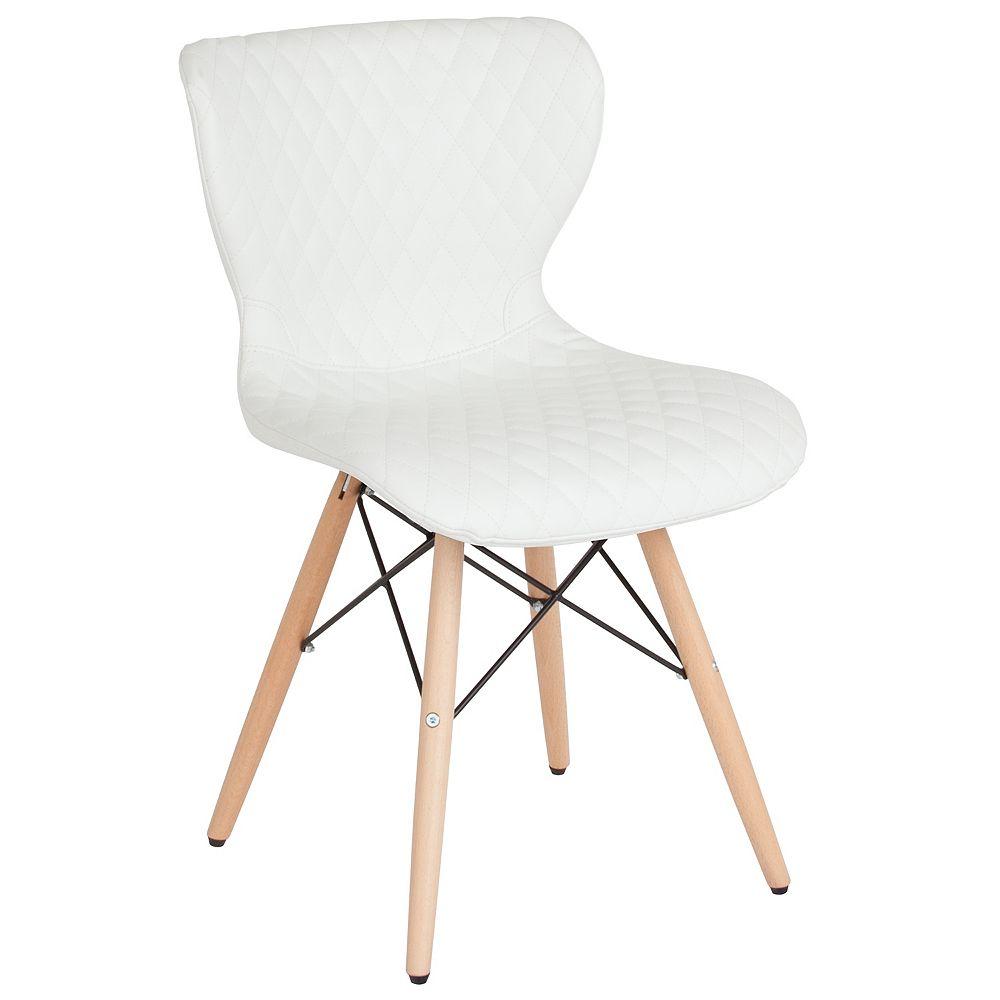 Flash Furniture White Vinyl Chair-Wood Legs