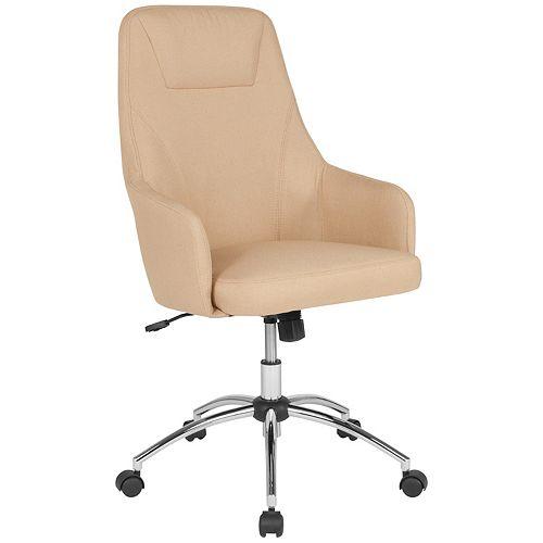 Beige Fabric High Back Chair