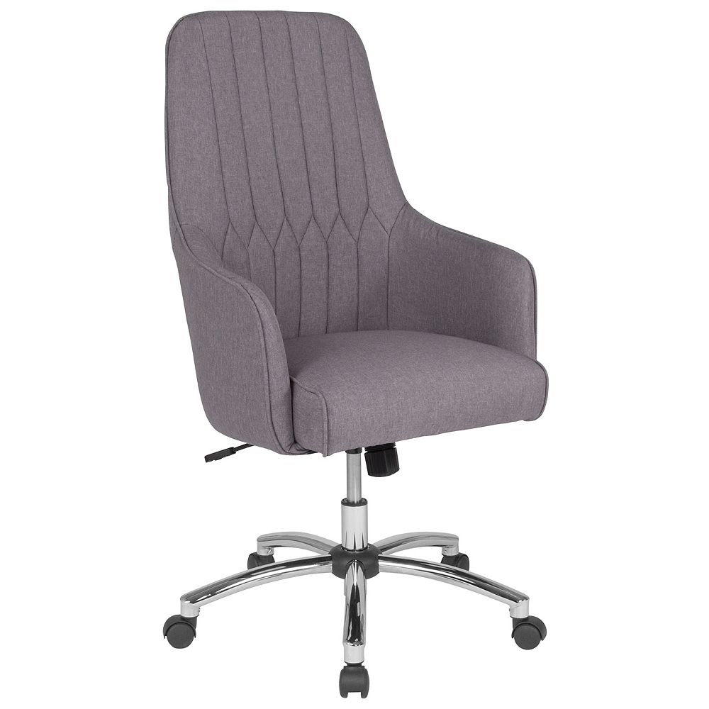 Flash Furniture Albi Home and Office Upholstered High Back Chair in Light Gray Fabric