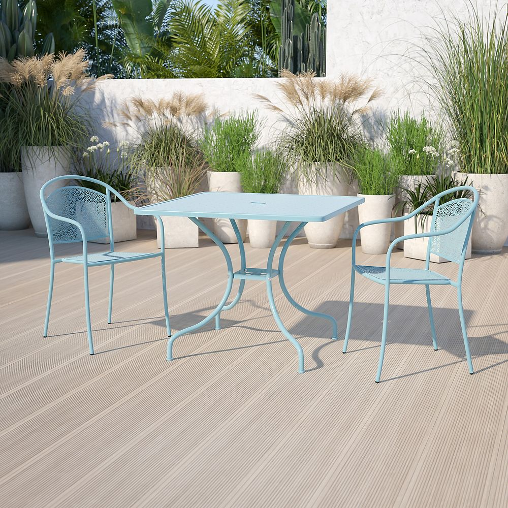 Flash Furniture 35.5'' Square Sky Blue Indoor-Outdoor Steel Patio Table