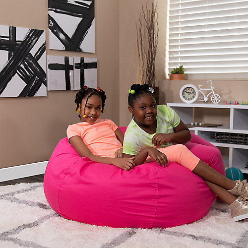 Oversized Solid Hot Pink Bean Bag Chair