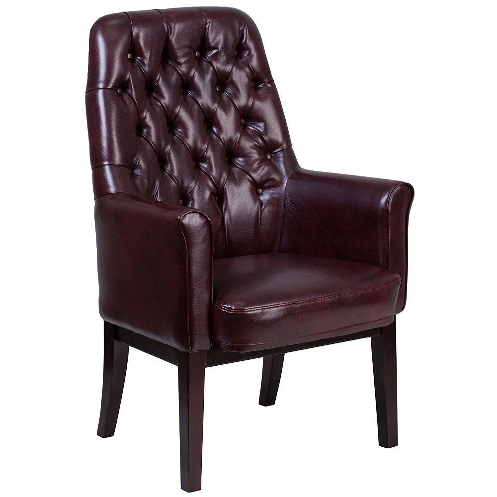 Flash Furniture Chaise de réception traditionnelle touffeté en cuir bourgogne avec dossier haut