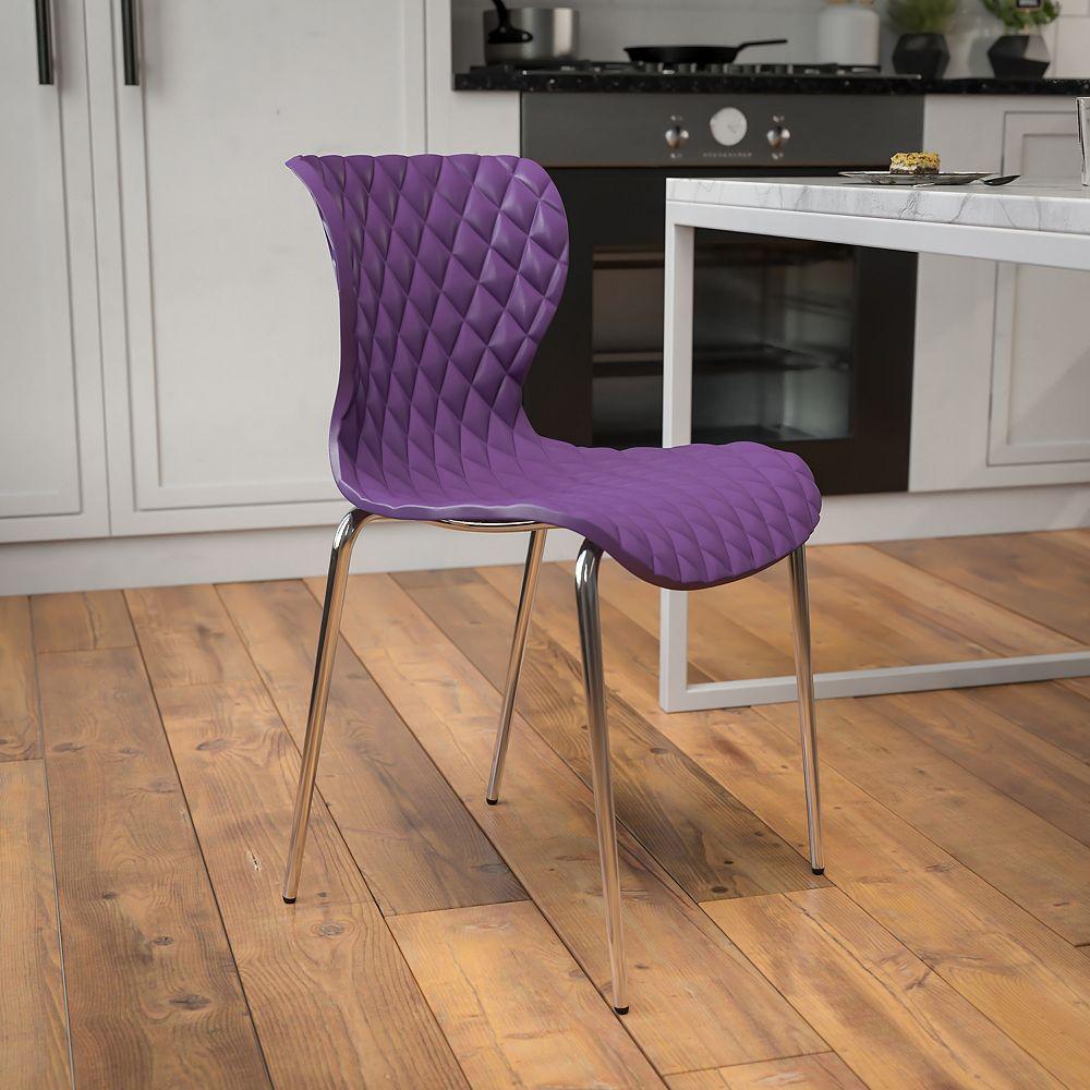 Flash Furniture Lowell Contemporary Design Purple Plastic Stack Chair