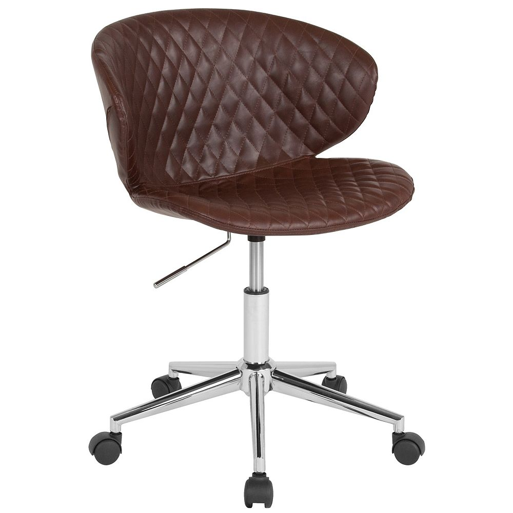 Flash Furniture Cambridge Home and Office Upholstered Low Back Chair in Brown Vinyl
