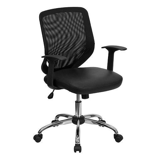 Flash Furniture Mid-Back Black Mesh Tapered Back Swivel Task Chair with Leather Seat, Chrome Base and T-Arms