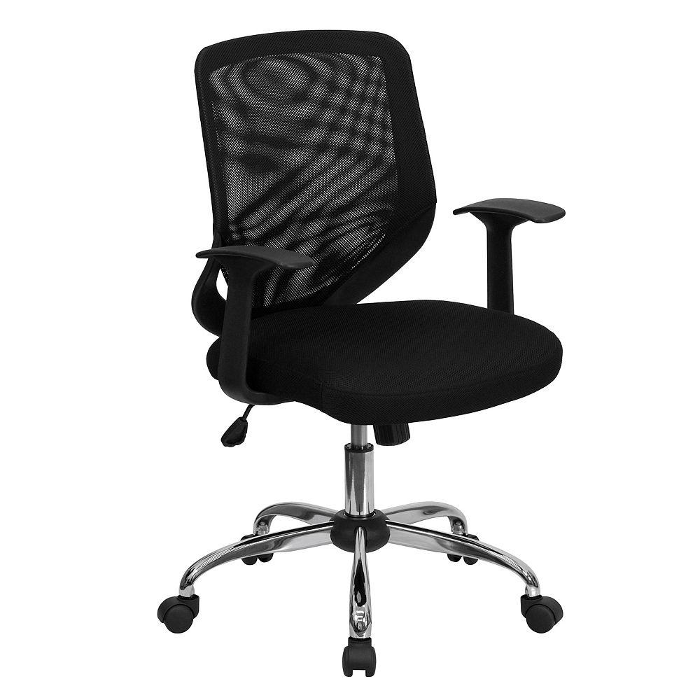 Flash Furniture Chaise de travail noire en maille à dossier mi-hauteur