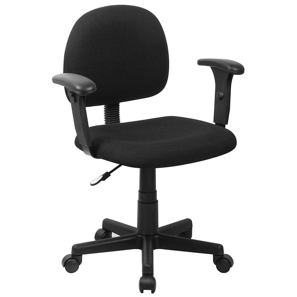 Flash Furniture Chaise de bureau pivotante en tissu noir à dossier mi-hauteur avec appuis-bras réglables