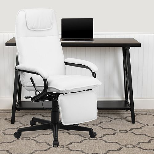 High Back White Leather Executive Reclining Swivel Chair with Arms
