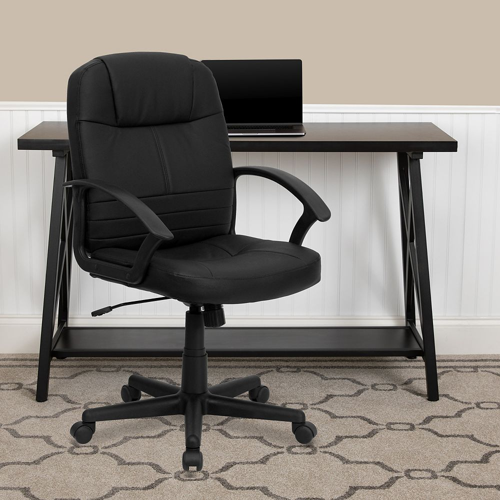 Flash Furniture Mid-Back Black Leather Executive Swivel Office Chair with Rounded Back and Arms