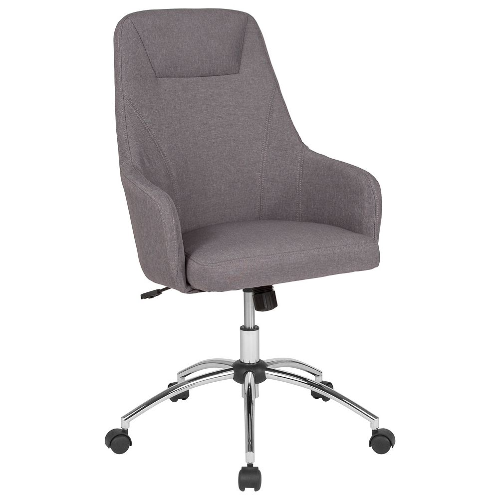 Flash Furniture Rennes Home and Office Upholstered High Back Chair in Light Gray Fabric