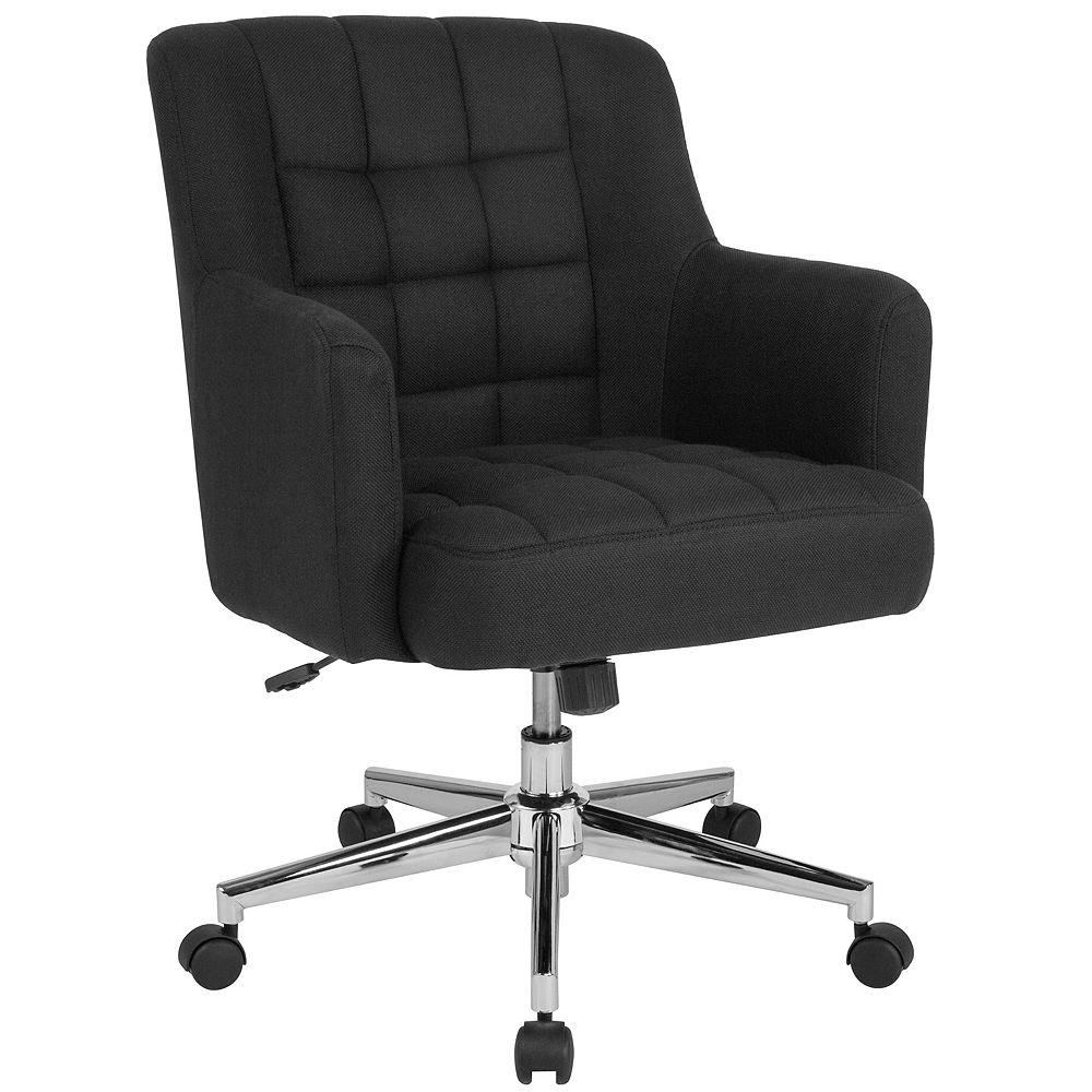 Flash Furniture Chaise Laone de bureau et de la maison à dossier mi-hauteur rembourrée en tissu noir
