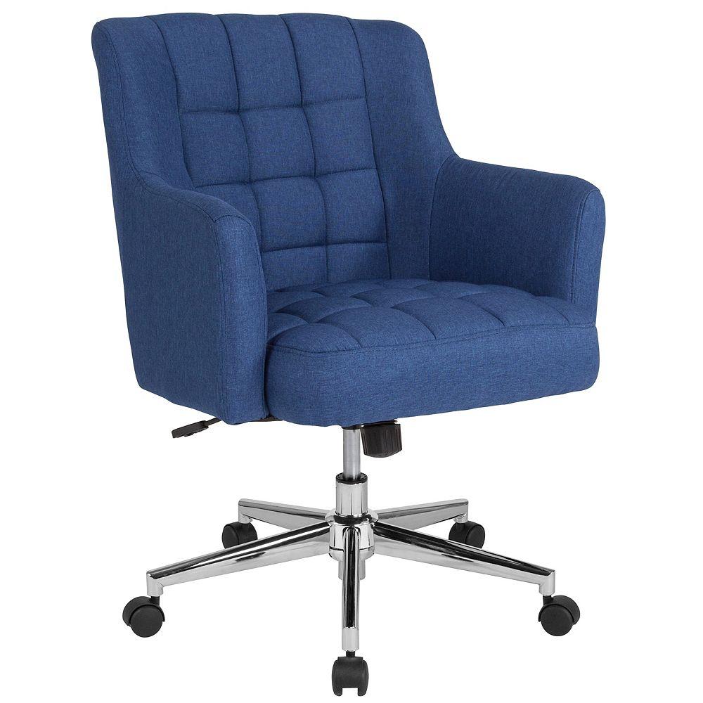 Flash Furniture Chaise Laone de bureau et de la maison à dossier mi-hauteur rembourrée en tissu bleu
