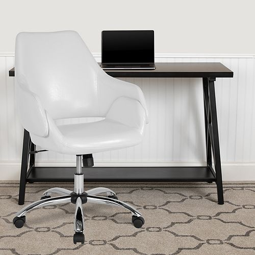 Madrid Home and Office Upholstered Mid-Back Chair in White Leather