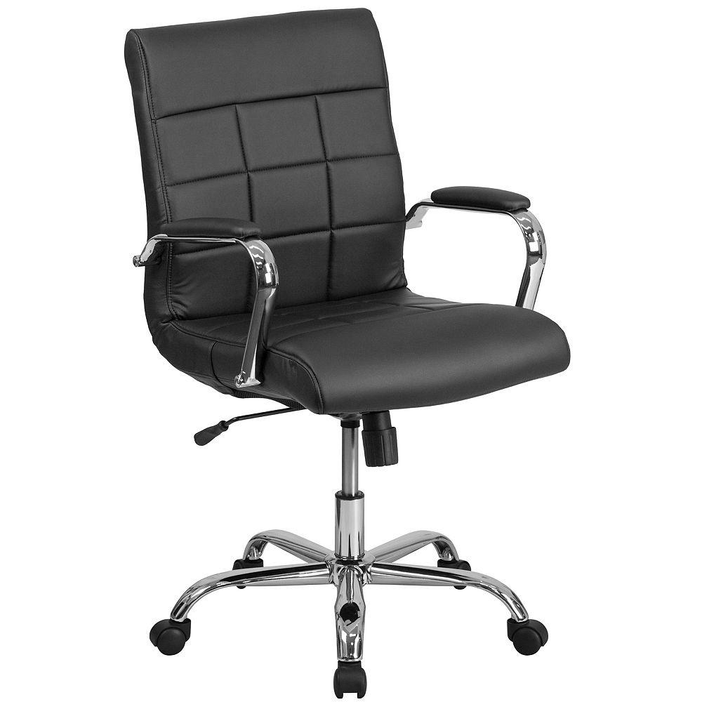 Flash Furniture Chaise exécutive pivotante en vinyle noir à dossier mi-hauteur avec base chromée et appuis-bras
