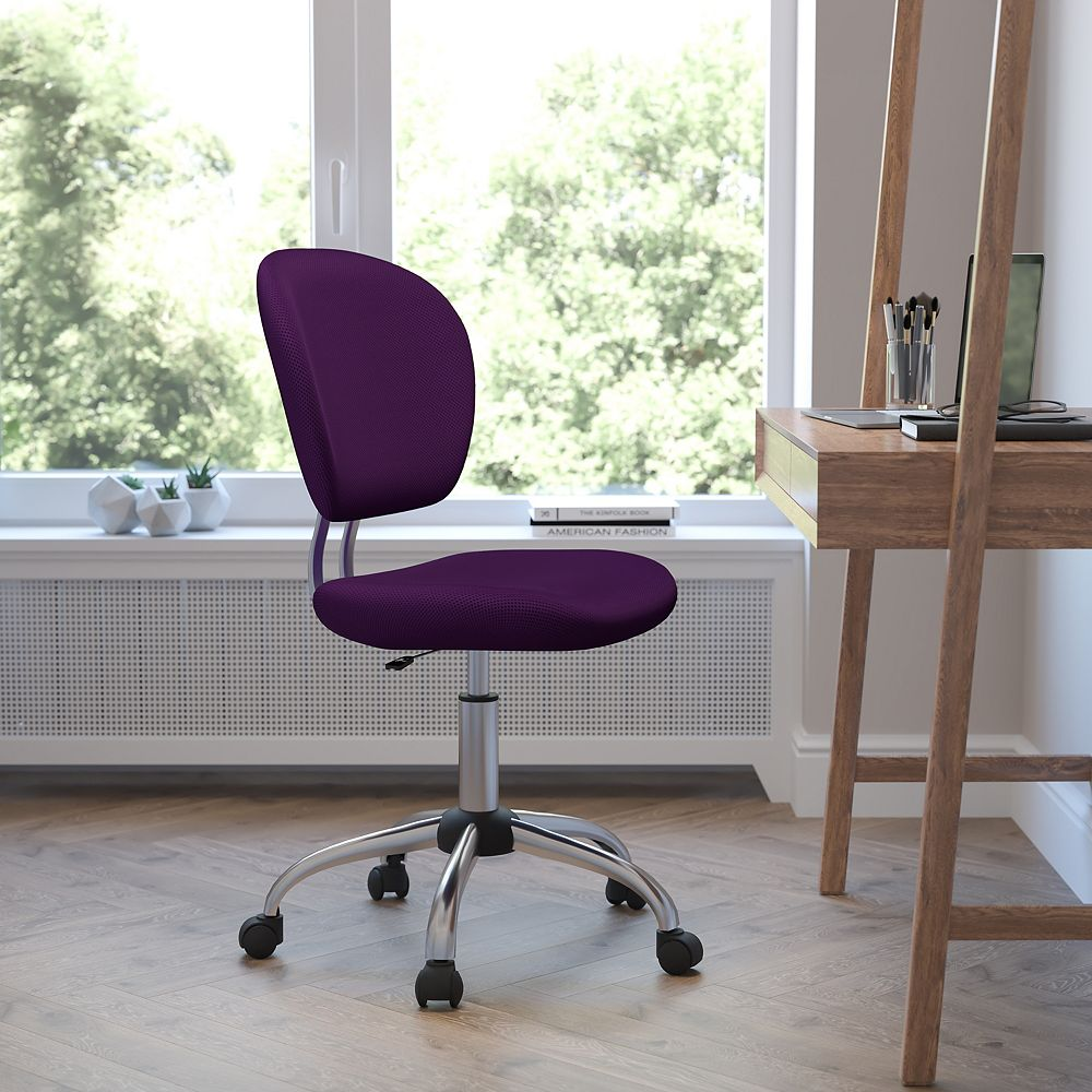Flash Furniture Mid-Back Purple Mesh Padded Swivel Task Chair with Chrome Base
