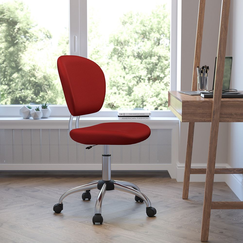 Flash Furniture Mid-Back Red Mesh Padded Swivel Task Chair with Chrome Base