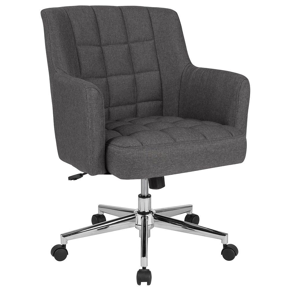 Flash Furniture Chaise Laone de bureau et de la maison à dossier mi-hauteur rembourrée en tissu gris foncé