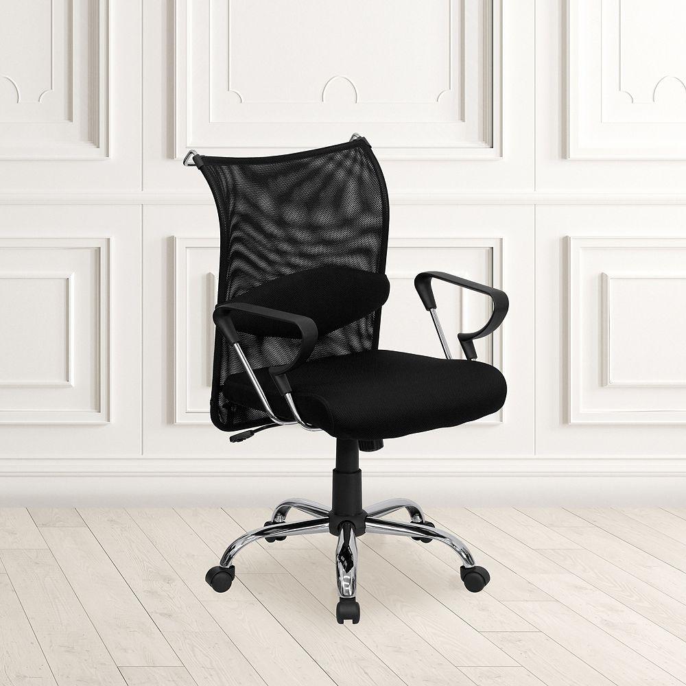 Flash Furniture Chaise en maille noire à dossier mi-hauteur