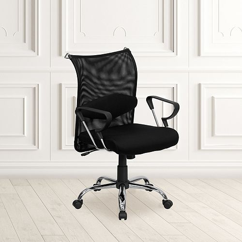 Flash Furniture Mid-Back Black Mesh Swivel Manager's Office Chair with Adjustable Lumbar Support and Arms
