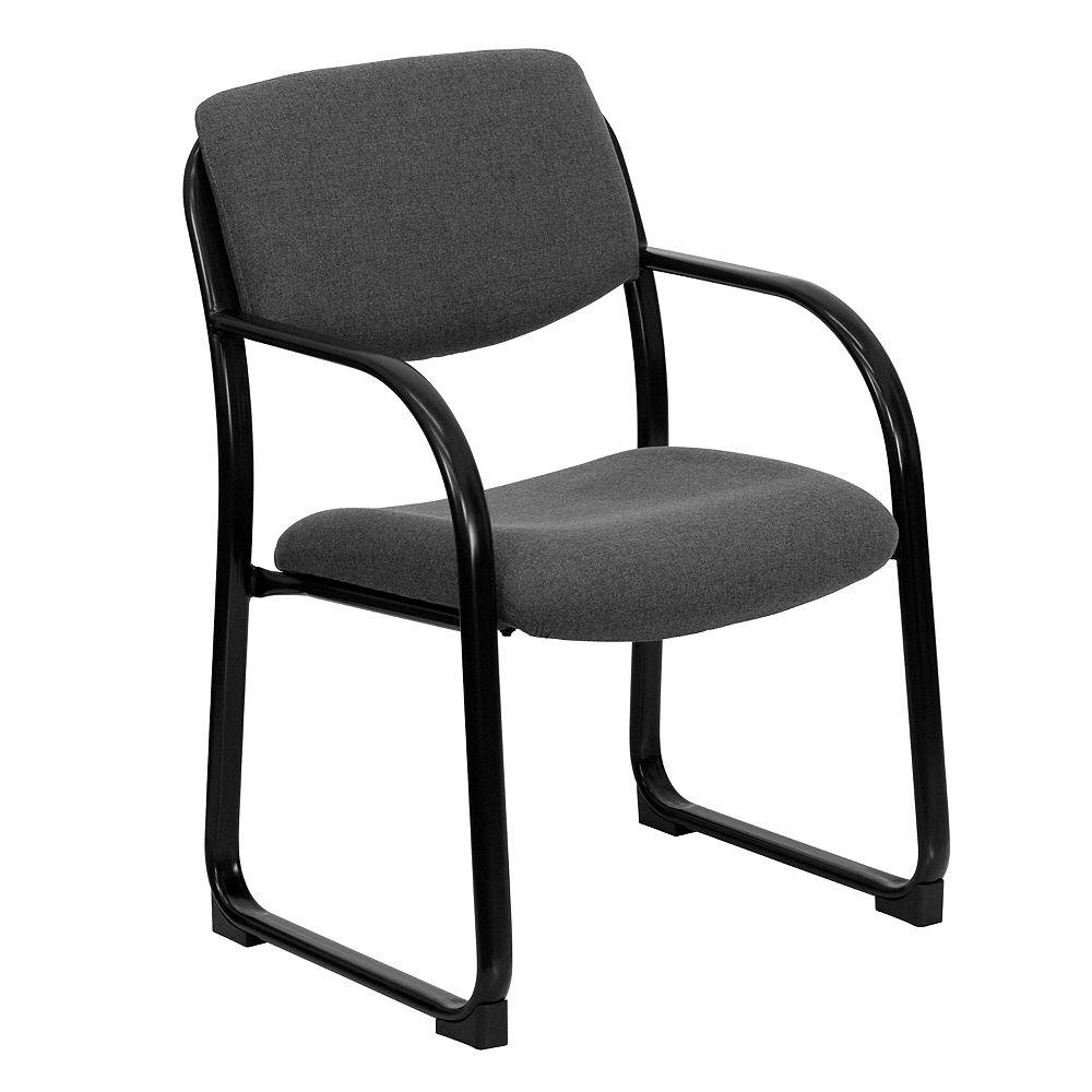 Flash Furniture Chaise de réception exécutive auxiliaire en tissu gris avec base traîneau