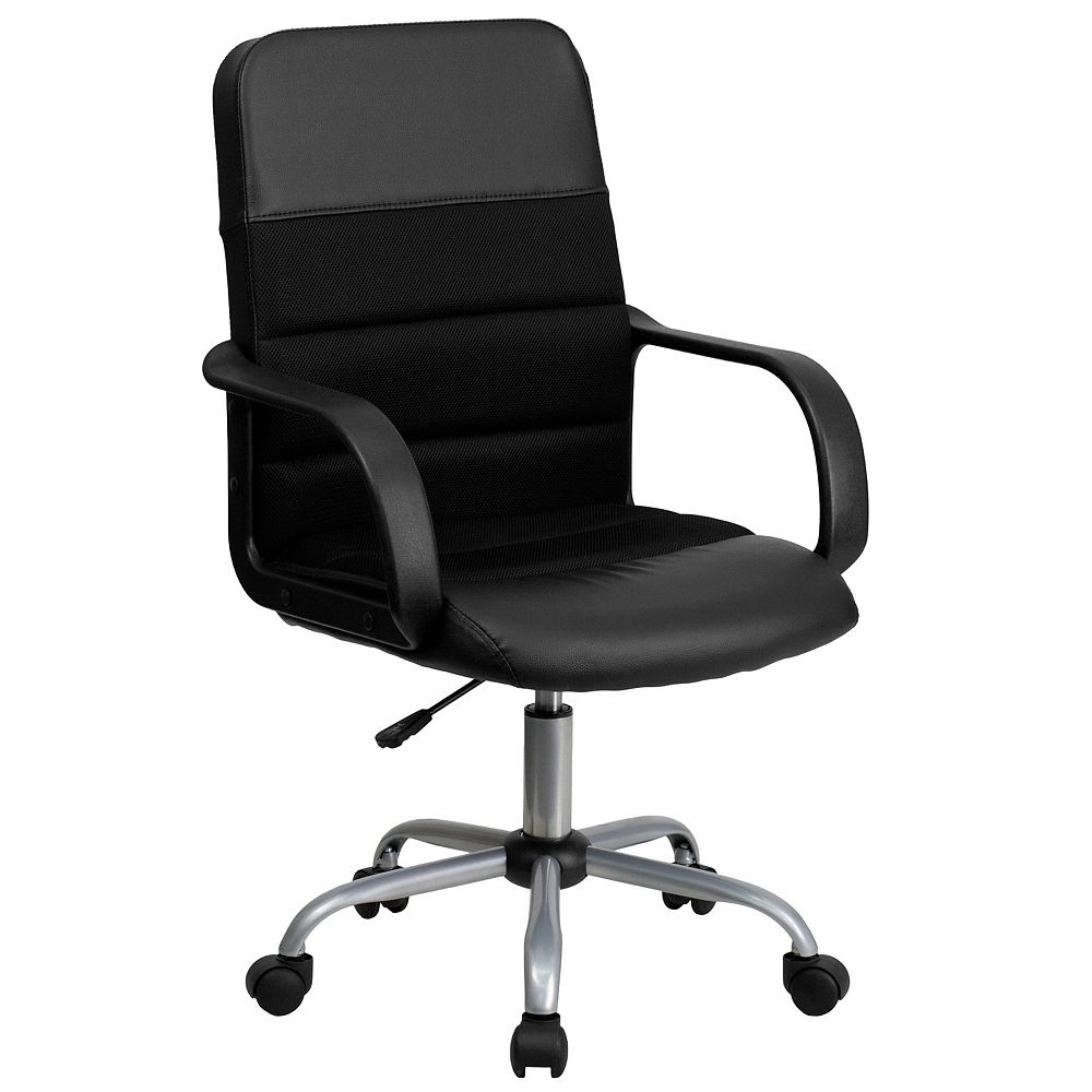 Flash Furniture Mid-Back Black Leather and Mesh Swivel Task Chair with Arms