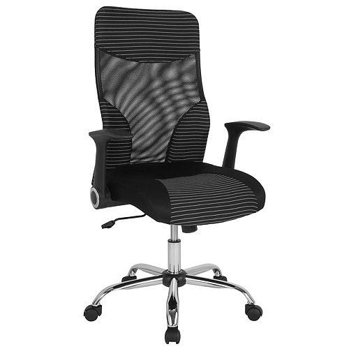 Chaise noire en maille avec dossier haut