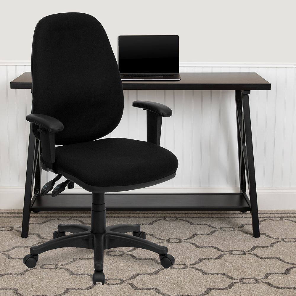 Flash Furniture High Back Black Fabric Executive Swivel Ergonomic Office Chair with Adjustable Arms