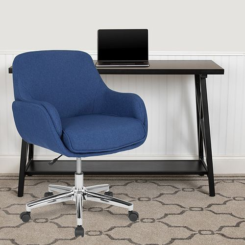 Flash Furniture Rochelle Home and Office Upholstered Mid-Back Chair in Blue Fabric