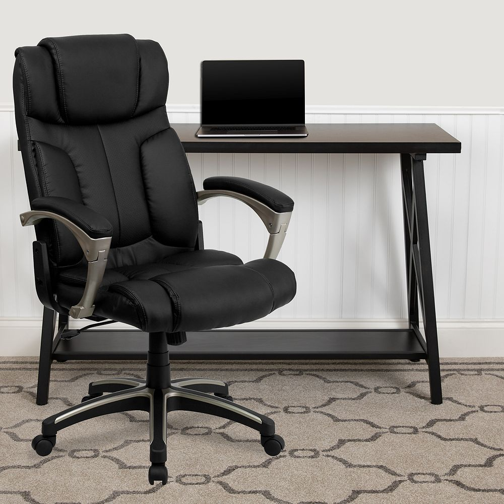 Flash Furniture High Back Folding Black Leather Executive Swivel Office Chair with Arms