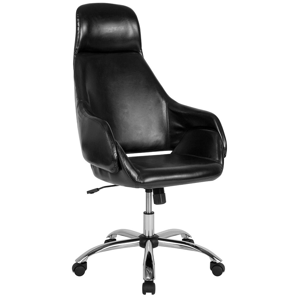 Flash Furniture Marbella Home and Office Upholstered High Back Chair in Black Leather
