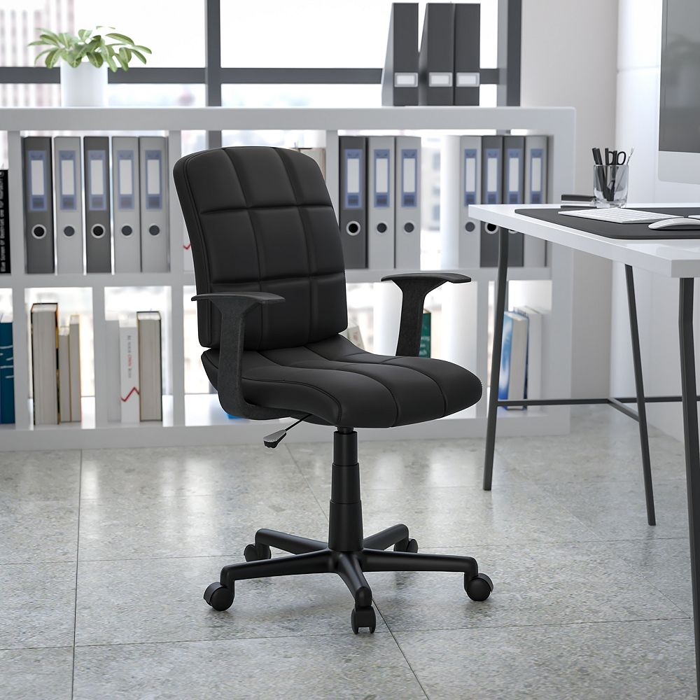 Flash Furniture Mid-Back Black Quilted Vinyl Swivel Task Chair with Arms