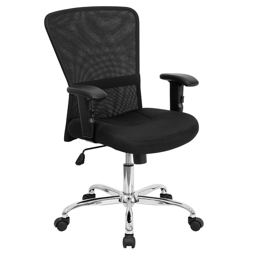 Flash Furniture Mid-Back Black Mesh Contemporary Swivel Task Chair with Chrome Base and Adjustable Arms