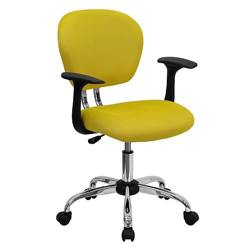 Mid-Back Yellow Mesh Padded Swivel Task Chair with Chrome Base and Arms