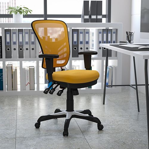 Flash Furniture Mid-Back Yellow-Orange Mesh Multifunction Executive Swivel Chair with Adjustable Arms