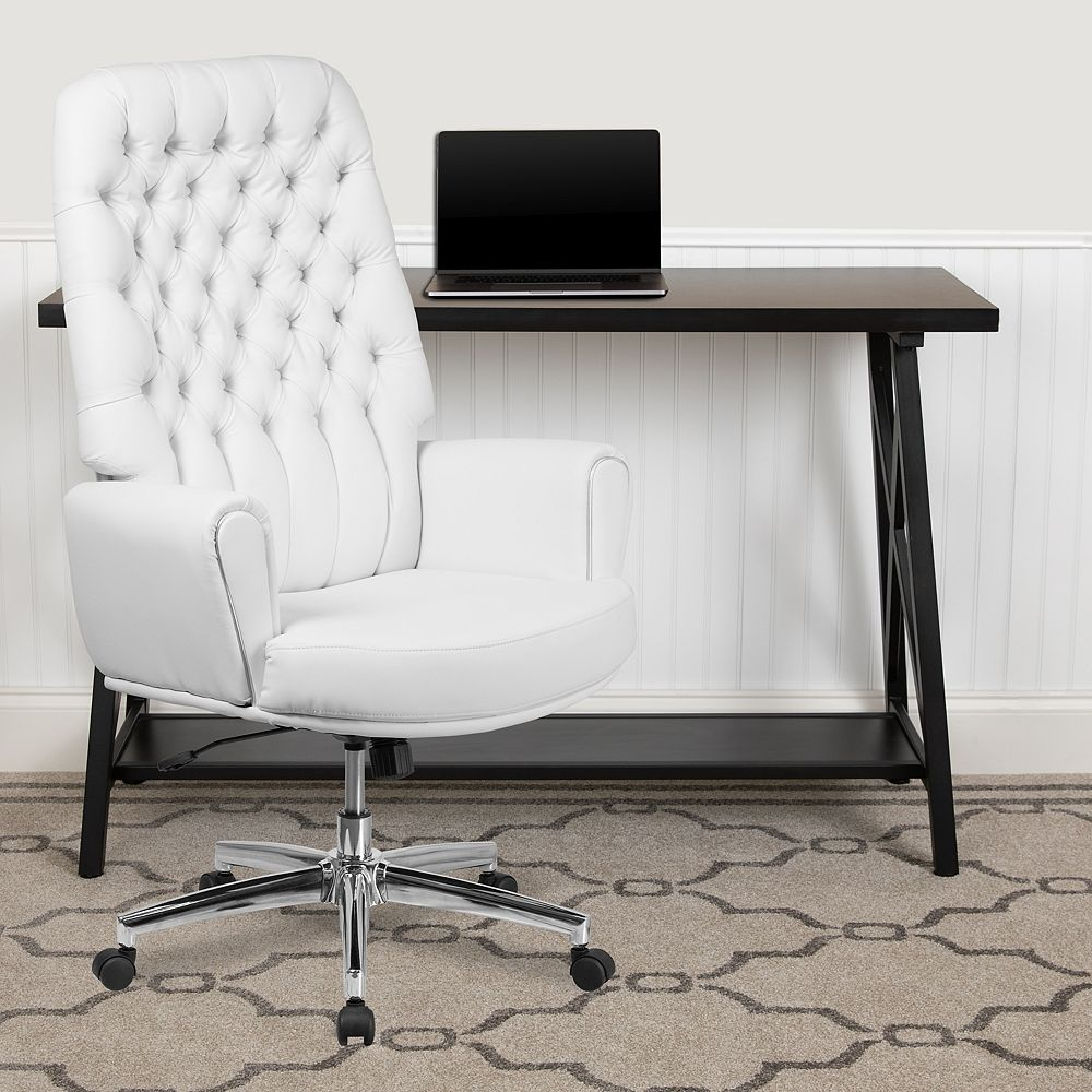 Flash Furniture High Back Traditional Tufted White Leather Executive Swivel Office Chair W The Home Depot Canada