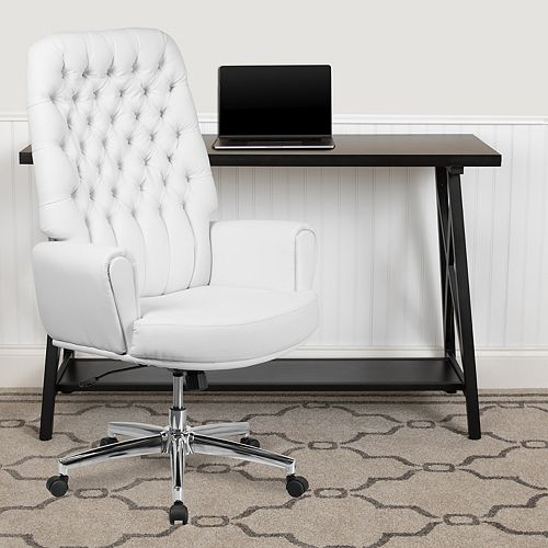 High Back Traditional Tufted White Leather Executive Swivel Office Chair with Arms