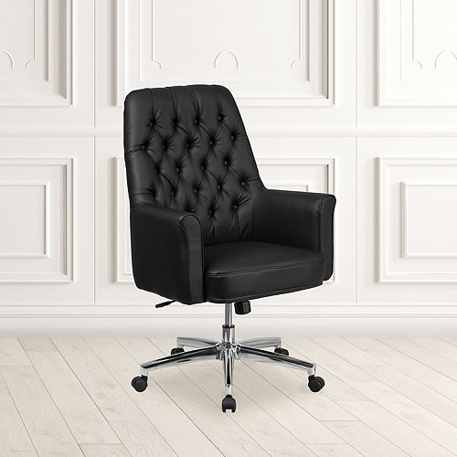 Flash Furniture Mid-Back Traditional Tufted Black Leather Executive Swivel Chair with Arms