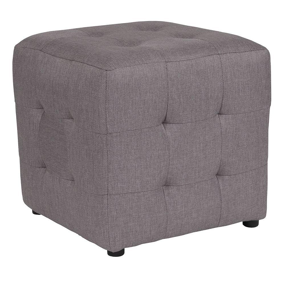 Flash Furniture Pouf Avendale touffeté rembourré en tissu gris clair